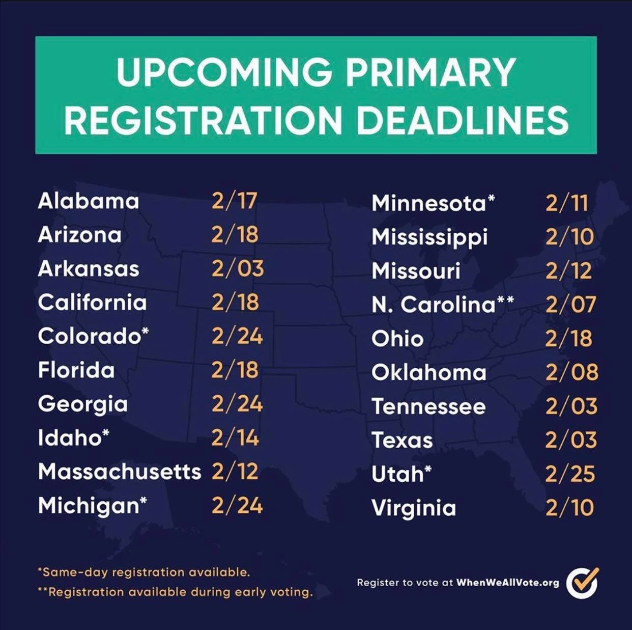 Primary Registration Deadlines 2020
